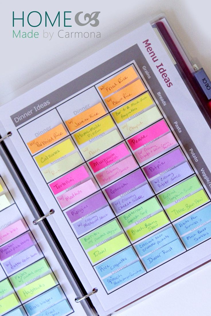 A Menu Planner with a weekly plan, an idea section, and easily movable sticky tabs makes mealtimes a breeze. Post includes a how-to use, how to make, and free customizable printables.