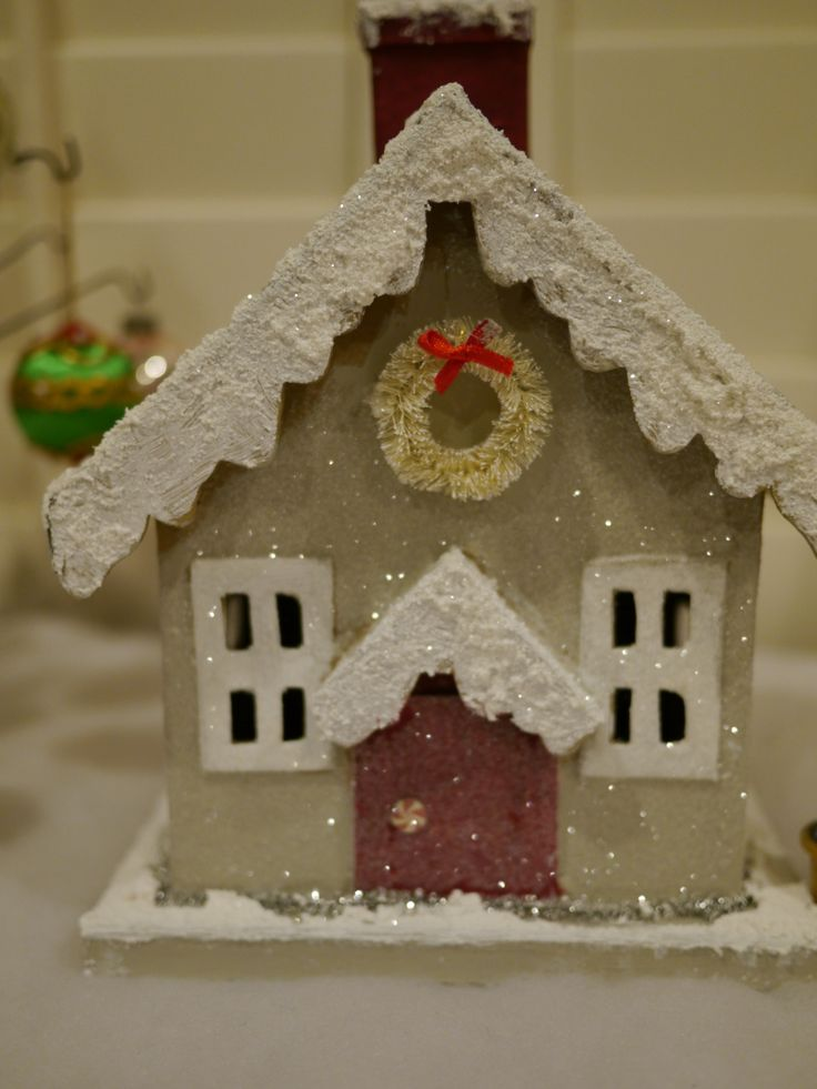 25 best paper mache homes images on pinterest for Paper mache christmas