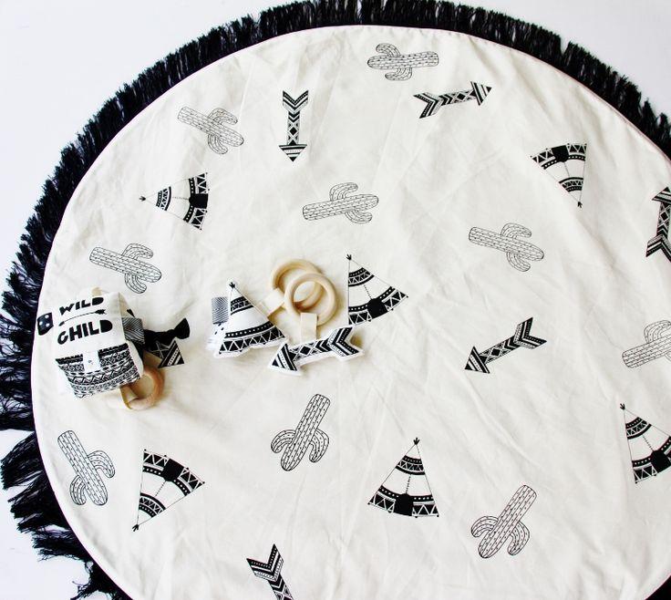 Wild Hand Printed Padded Play Mat - Tee Pee, Cactus & Arrow - Black Fringing