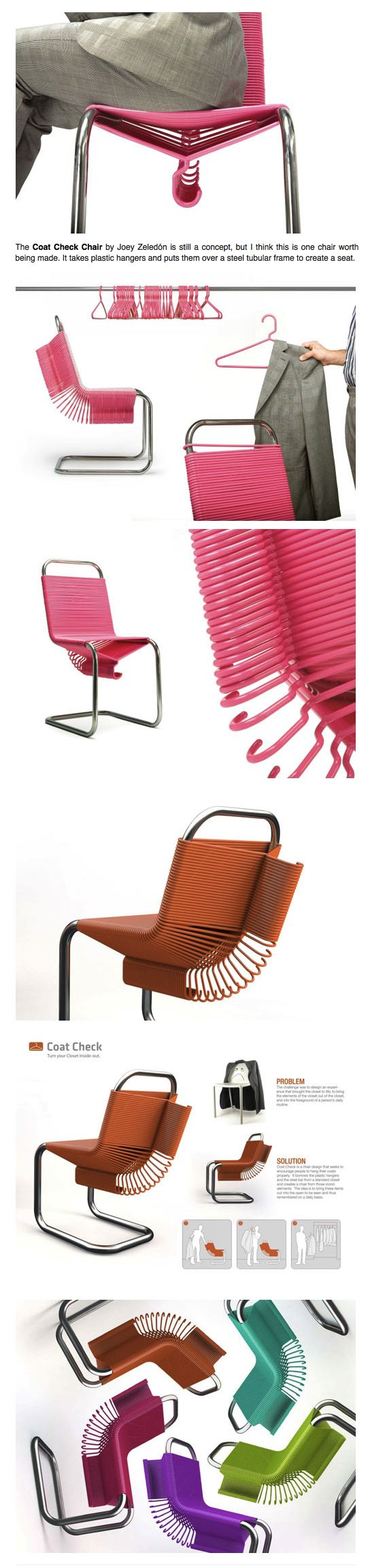 Industrial designer Joey Zeledón created the Coat Check chair. The chair uses plastic hangers set atop a steel frame. (via design-milk.com)