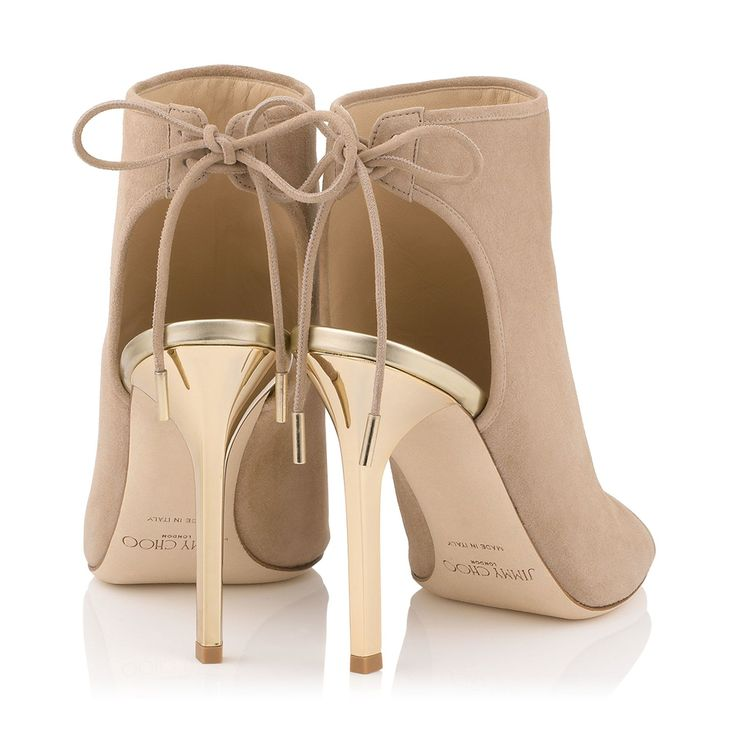 Jimmy Choo Froze - Nude Suede and Champagne Mirror Leather Sandal Booties