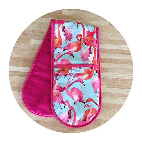 Flamingo pink and duck egg blue oven gloves
