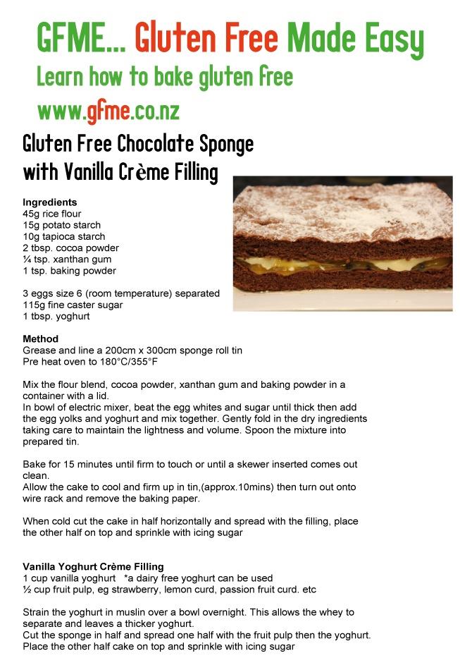 Gluten Free Chocolate Sponge Cake. www.gfme.co.nz