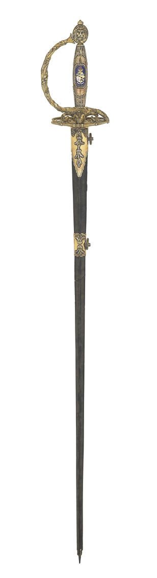 A Fine And Rare Silver-Gilt And Enamel Mounted Small-Sword Presented To Colonel John Campbell, 4th Earl Of Breadalbane By The 2nd Battalion, 4th Fencible Infantry  By Prosser, Sword Cutler Etc. To The King & H.R.H. The Duke Of York, Charing Cross, London Silver Hallmarks, Maker's Mark Of John Prosser