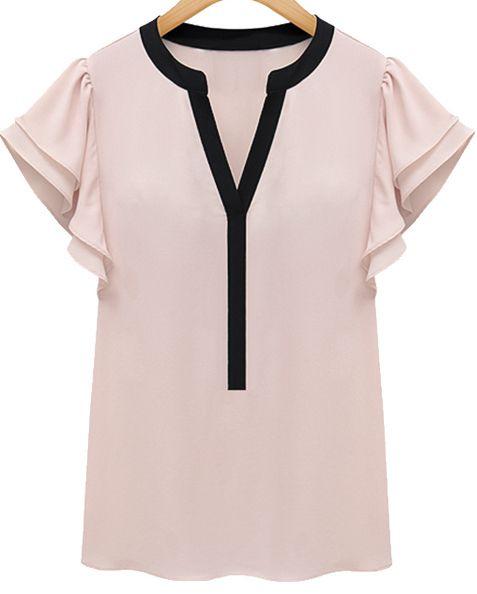 Pink Ruffle Short Sleeve Shirred V-neck Blouse