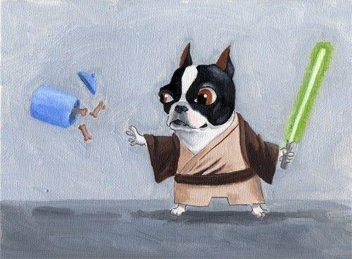 Hilarious.: Starwars Animals, Wars Baggybulldogs, Boston Terriers, Painting, Boston Bulldogs, Dog Art, Terrier Star Wars Art 04 Jpg