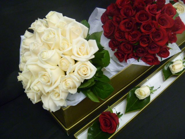 Red and White bouquets for the Bride and Bridal Party to match the Groom and his Groomsmen