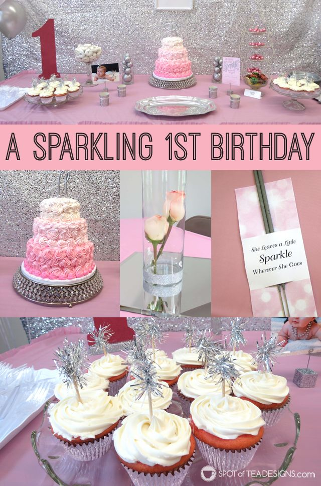 See a sparkling pink and silver themed first birthday party for a baby born near the fourth of july!