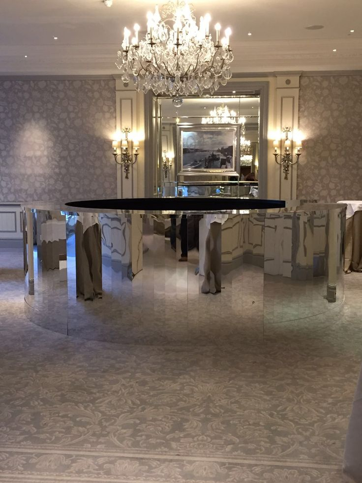 Our full round Silver Slatted Mirror Bar with a 12ft diameter.