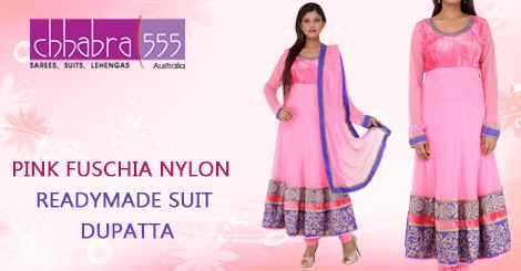 Buy PINK FUSCHIA NYLON READYMADE SUIT DUPATTA in @ $141.95 AUD fom collections of over 4000 unique products - design, colour and fabric scheme of Chhabra555 in Australia.