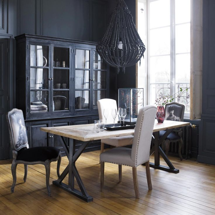 Recycled Wood Rectangular Dining Table LIÈGE