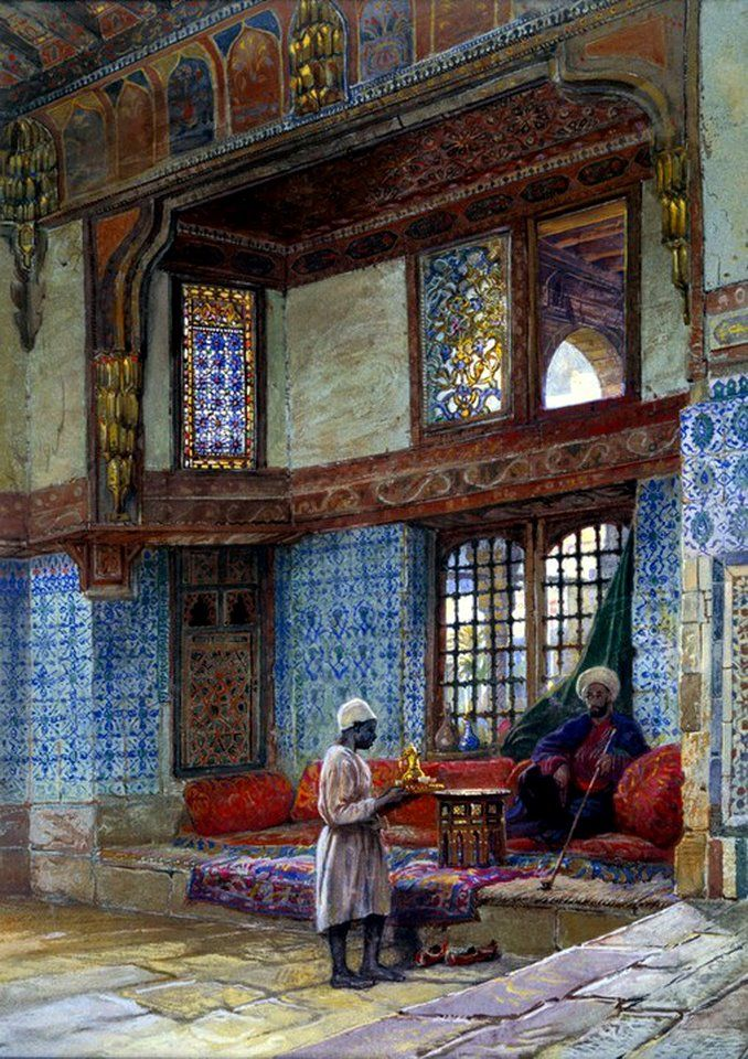 Serving coffee. Interior of an Arab home, mid 1800s. Wow! Look at the gorgeous architecture. Art Arturo Ricci.