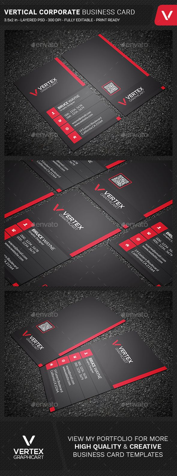 Vertical Corporate Business Card Design Template - Corporate Business Cards Design Template PSD. Download here: https://graphicriver.net/item/vertical-corporate-business-card/19361307?ref=yinkira
