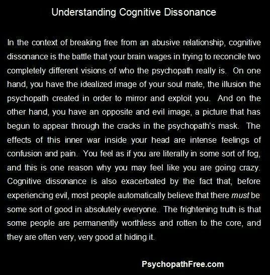 Cognitive dissonance and narcissistic sociopath relationship abuse.