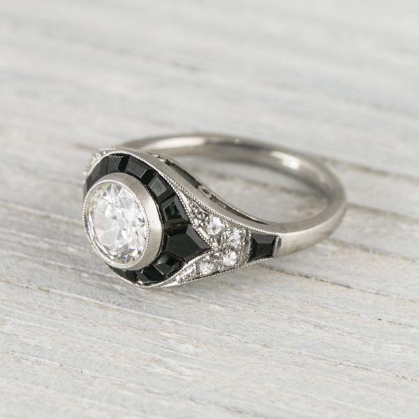 Image of .60 Carat Vintage Art Deco Mauboussin Onyx & Diamond Engagement Ring