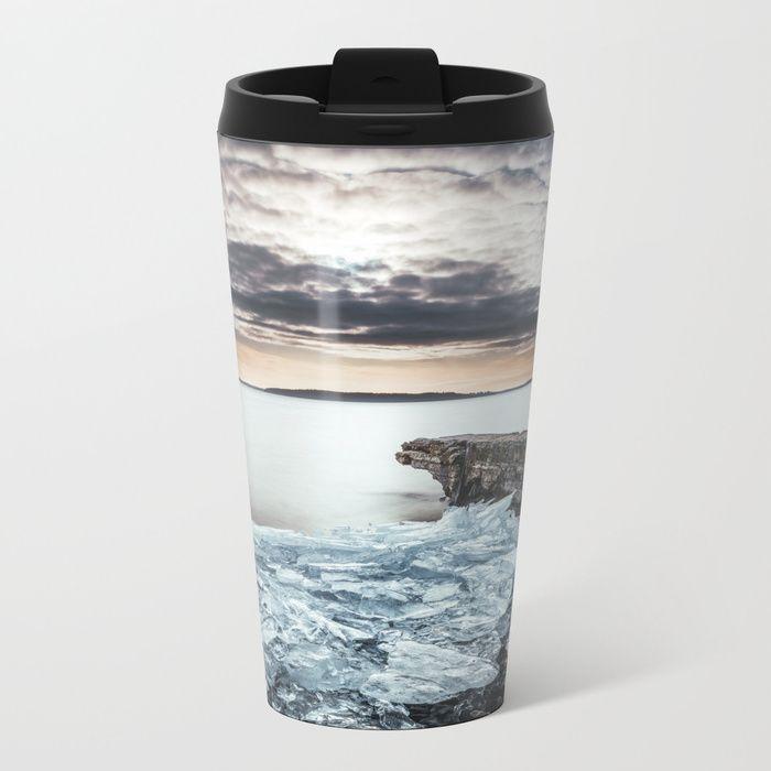Frozen broken hearts Metal Travel Mug by HappyMelvin  #nature #wanderlust #winter #ice #homedecor #mugs
