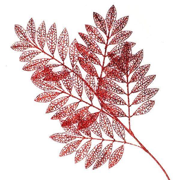 Red Glitter Leaf Spray Pick