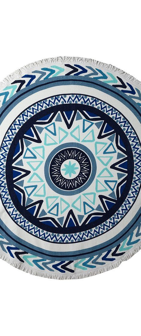 Plush Soleil Sundial Round Beach Towel (White/Blue) Bath Towels - Plush, Soleil Sundial Round Beach Towel, TW104R, Home Bath Towels, Towels, Bath, Home, Gift - Outfit Ideas And Street Style 2017
