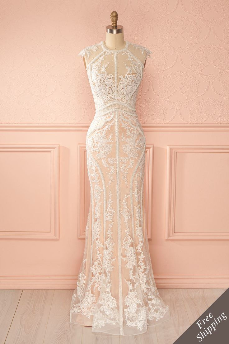 Robe longue sirène blanche pêche dentelle billes broderies - White salmon embroidered beads lace mermaid maxi dress