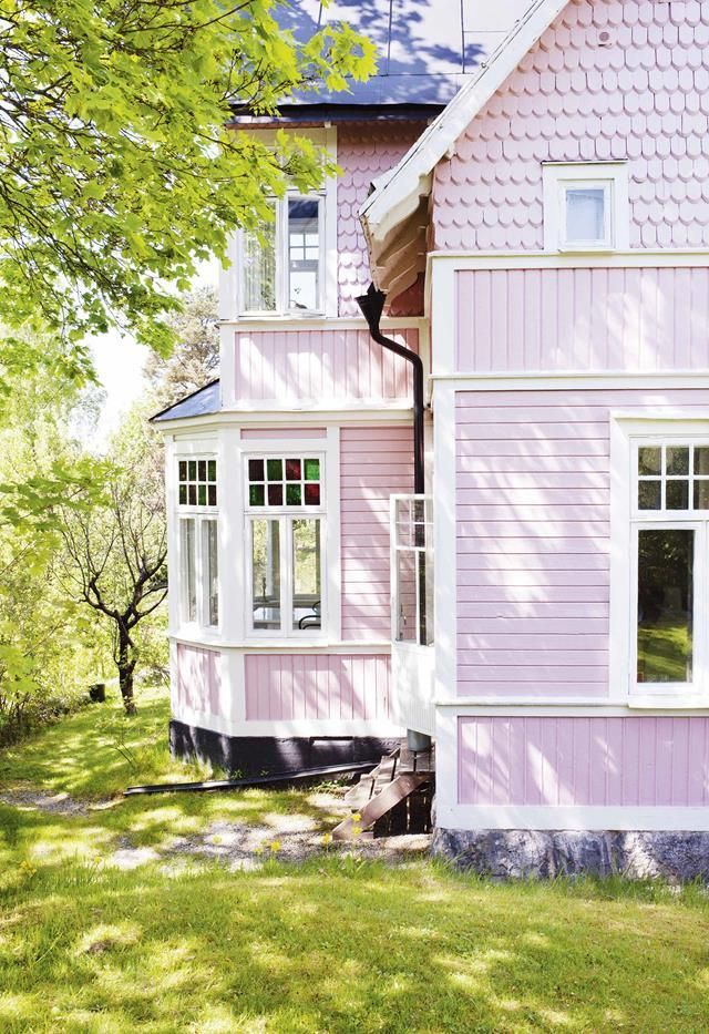 A Pink House In Sweden Pink House Exterior Exterior House Paint
