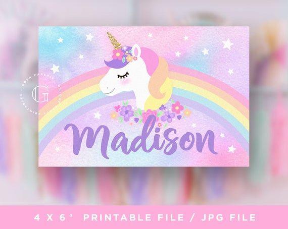 Unicorn birthday banner Unicorn party decoration Digital file Printable banner Unicorn banner Unicorn backdrop