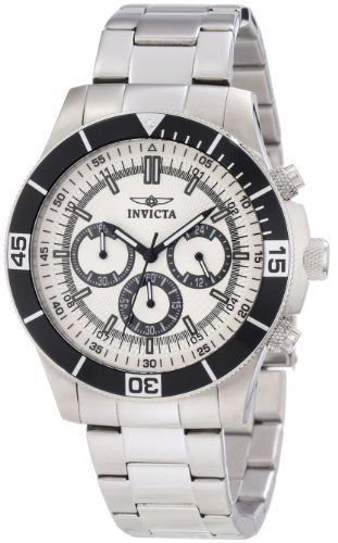 Invicta Men's 12841 Specialty Chronograph Silver Dial Watch Invicta. $69.99. Silver dial with silver tone hands; luminous; unidirectional bezel stainless steel bezel with black ring. Water-resistant to 100 M (330 feet). Japanese quartz movement. Flame fusion crystal; stainless steel case and bracelet. Chronograph functions with 60 second, 30 minute and 12 hour subdials