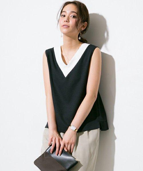 STUDIOUS WOMEN(ステュディオス ウィメンズ)のSTUDIOUS Vネックノースリーブカットソー【先行予約】(Tシャツ/カットソー)|ネイビー