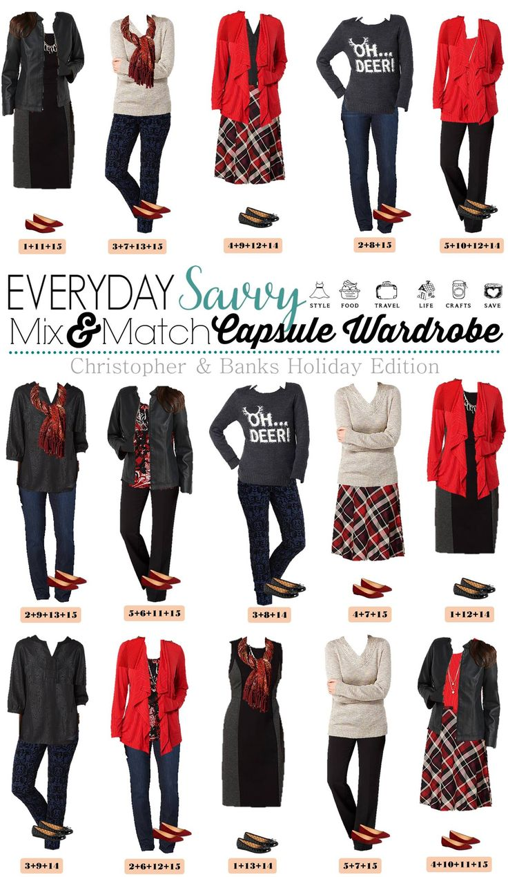 Here is a new board of mix and match Holiday outfits. These pieces mix and match for 15 great outfits that will have you looking amazing this holiday season no matter the occasion. We have ca