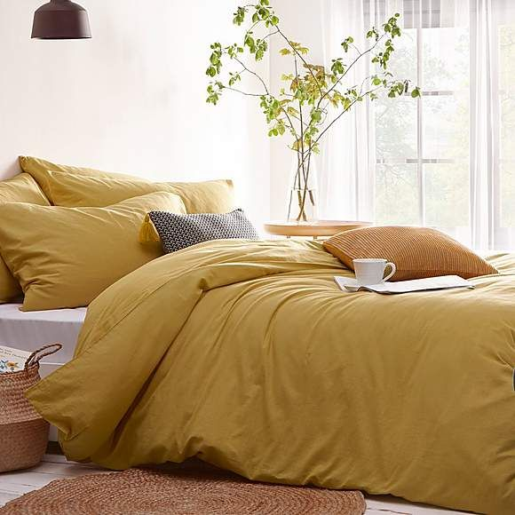 Stonehouse Ochre 100 Cotton Duvet Cover And Pillowcase Set Duvet Covers Yellow 100 Cotton Duvet Covers Duvet Covers