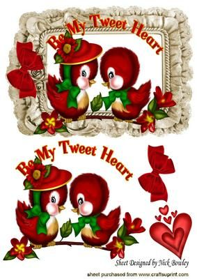 BE MY TWEET HEART CUTE LOVE BIRDS WITH BOW on Craftsuprint - Add To Basket!