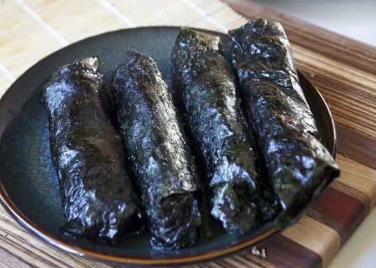 Seaweed Wrapped Seared Salmon Rolls