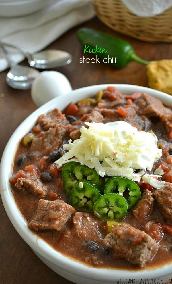 Thick and chunky, this kickin' steak chili is the ultimate football food fare! Feel free to dial back the heat if you like your chili a little tamer.