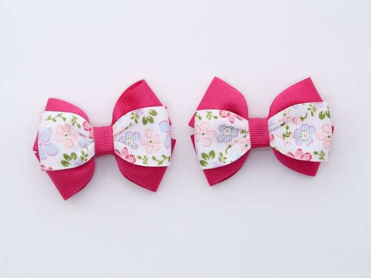 Pink Blue Toddler Pigtail Hair Bows Blue Small Hair Bows Pink Floral Pigtail Hair Clips Baby Hair Clips Blue Baby Bows Pink Pigtail Bows