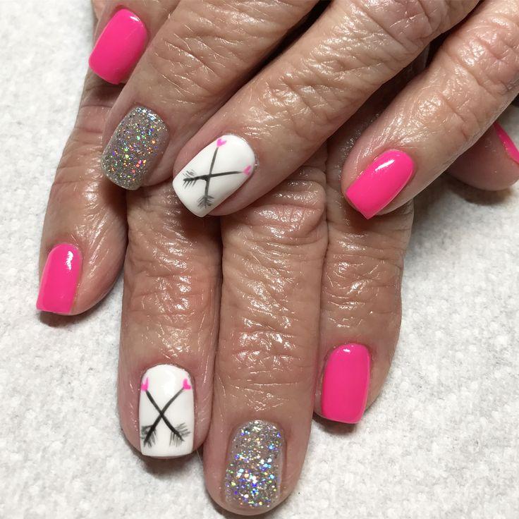 Valentine nails. Pink nails. Glitter nails. Gel nails. Arrow nail art