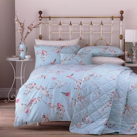 Duck Egg Beautiful Birds Collection Duvet Cover Set | Dunelm Mill This is the duvet cover I would like to get and possibly base the bedroom around