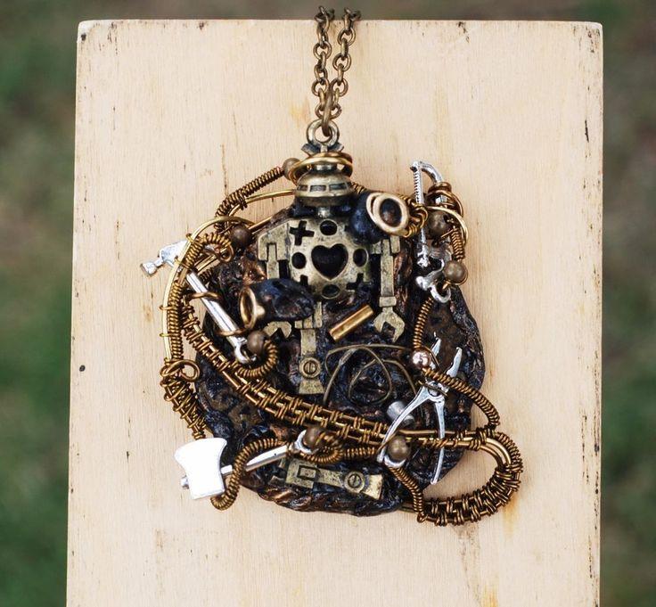 Unisex Steampunk Robot Workshop Pendant Wire Wrap Artisan Unique Robot Necklace #Jeanninehandmade #Pendant