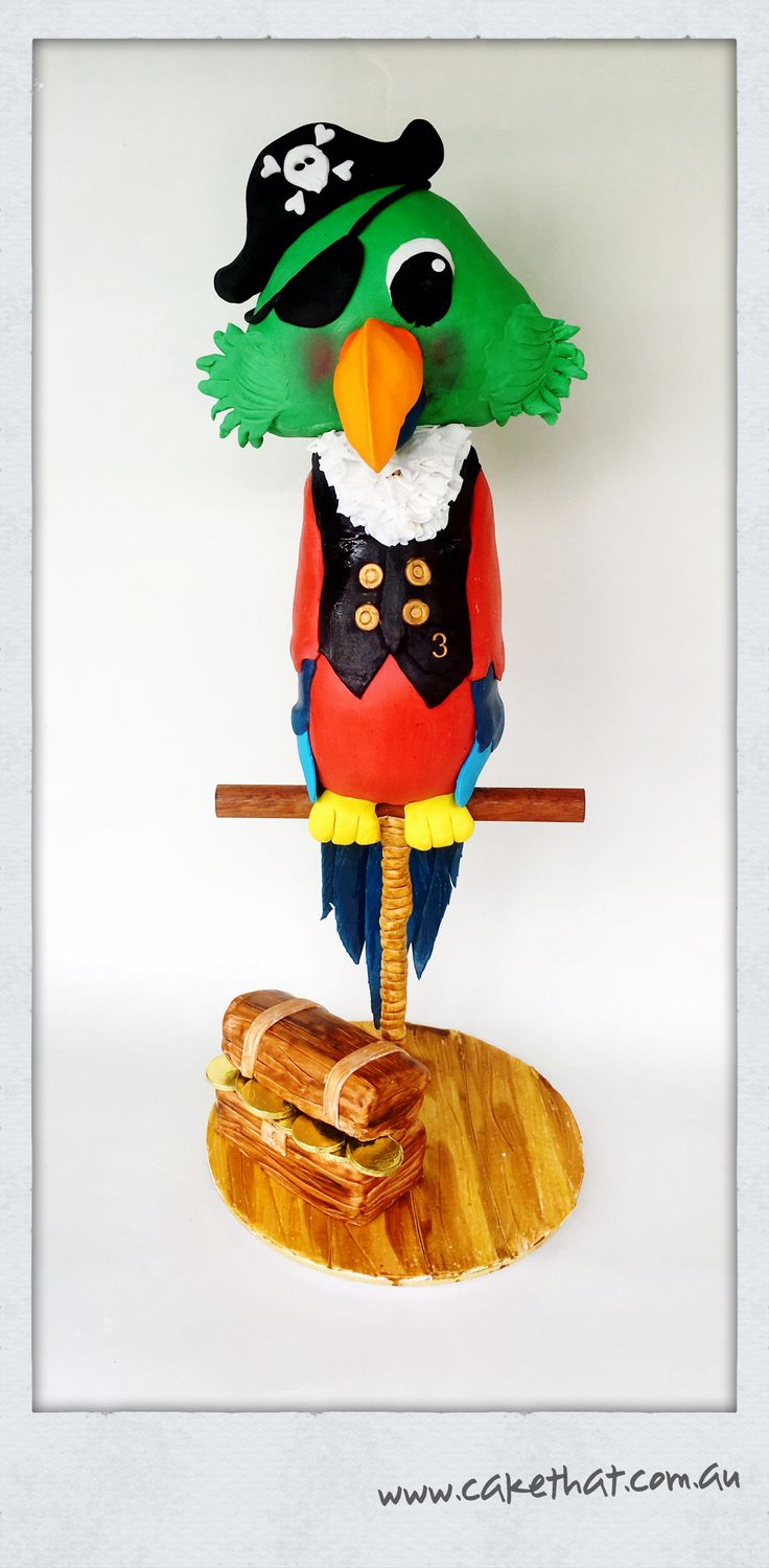 3D cake. Pirate bird cake. Gravity defying cake. Bird on a perch. Pirate party ideas. Pirate party cake.