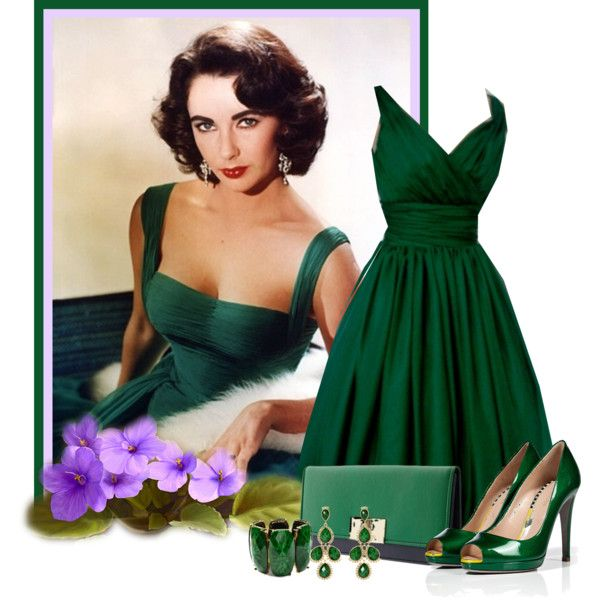 Elizabeth Taylor by twinkle0088 on Polyvore featuring Sergio Rossi, Banana Republic, Amrita Singh, Elizabeth Taylor, emerald green dresses, green heels, green jewelry and green clutches