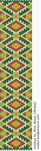Схема браслета - мозаичное плетение - free peyote cuff pattern