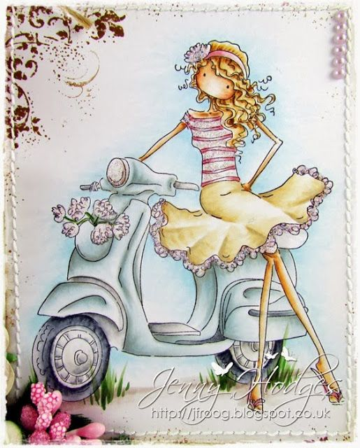 Featuring Stamping Bella's Vienna On Her Vespa SKU 617782.  Available at www.addictedtorubberstamps.com. Card created by Jenny Hodges.