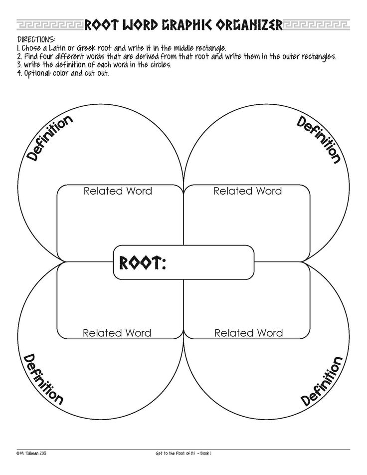 Greek and Latin root word graphic organizer, plus a few other fun vocabulary activities.