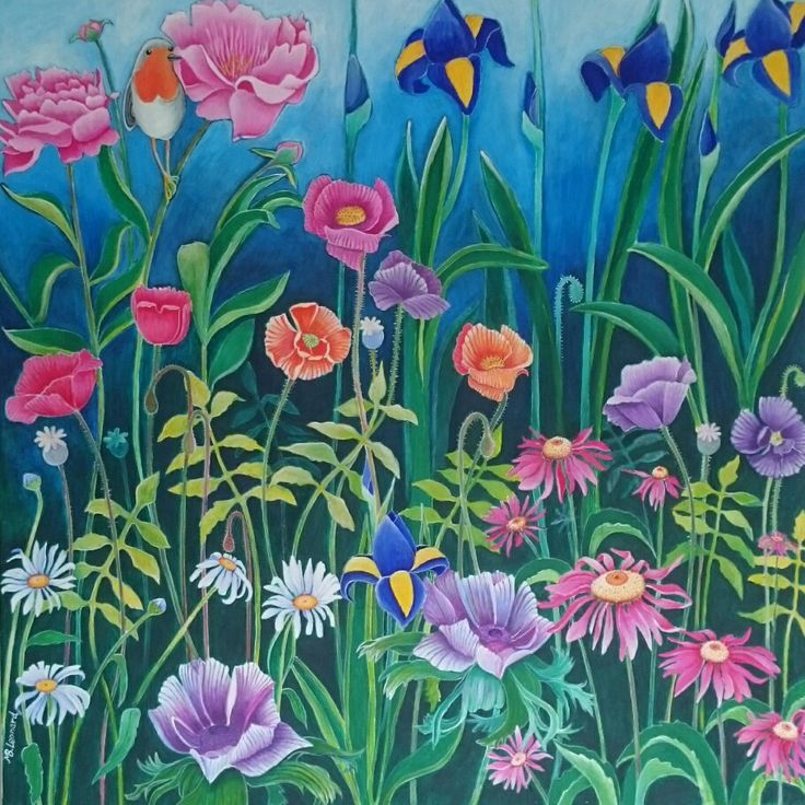 Summerflowers  Acrylics on canvas  Size: 80x80 cm