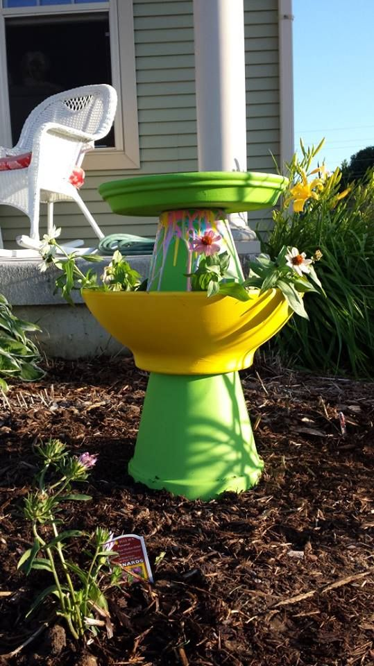 Homemade Bird Bath and Flower Pot