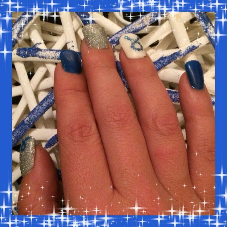 Blue ribbon cancer nail art