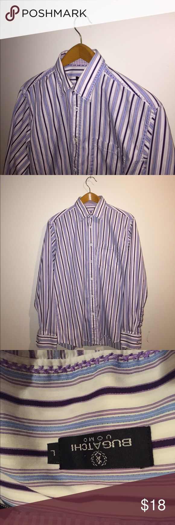 Bugatchi Uomo Button down A Bugatchi button down in a medium size, and a white blue and purple color way. This item is in excellent condition. Bugatchi Shirts Casual Button Down Shirts