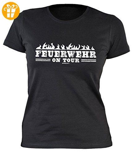Damen Shirt mit coolem Motiv - Feuerwehr on Tour - Sexy Girlie Shirt - Geschenk - Geburtstag - schwarz (*Partner-Link)