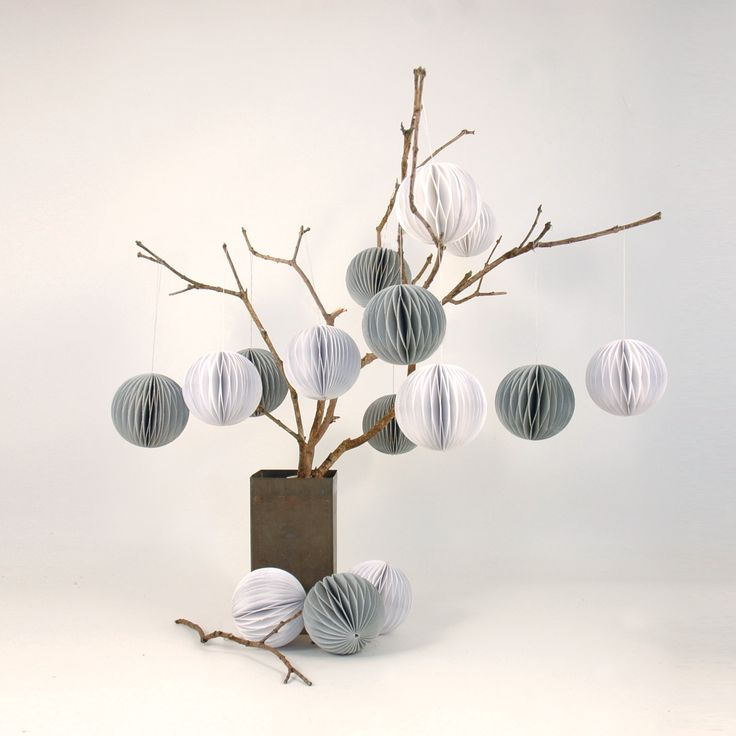 Duck egg blue and white baubles on a simple twig tree  #tree #baubles #christmas #decorations