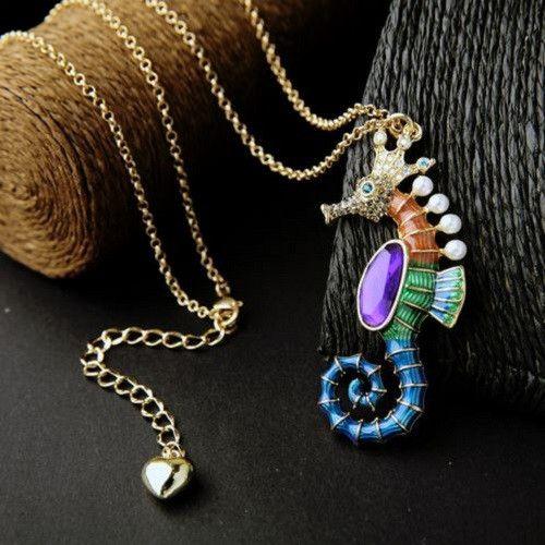 Seahorse Pendant Drop Necklace