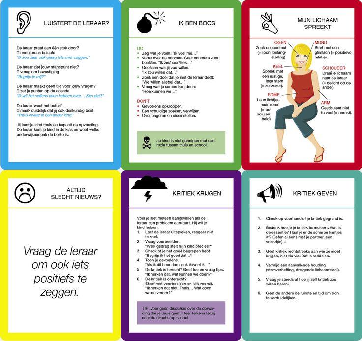 Praatkaartjes die ouders kunnen gebruiken tijdens gesprekken met een leerkracht.