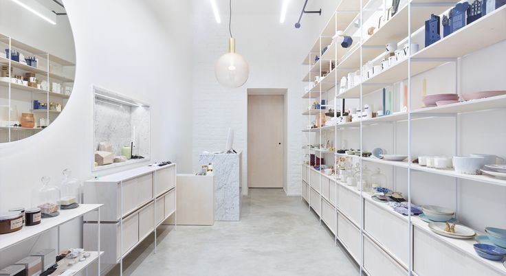 Located in Prague, DEBUT Shop offers mainly Czech design. The interior, designed by Dechem, has simplistic elegance. Though it's minimal in its space, it offers maximum functionality. We were happy to take care about production of furniture including marble countertop and big mirror. 📷 KIVA for Debut Shop